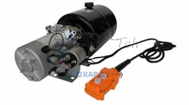 Mini hidraulika aggregát 12 V DC-1,6kW=2,1cc-8 lit- egyesműködésű kuplung (fém)