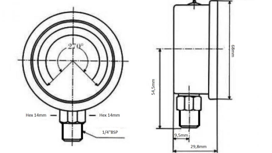 Nyomásmérő DN63 függőleges