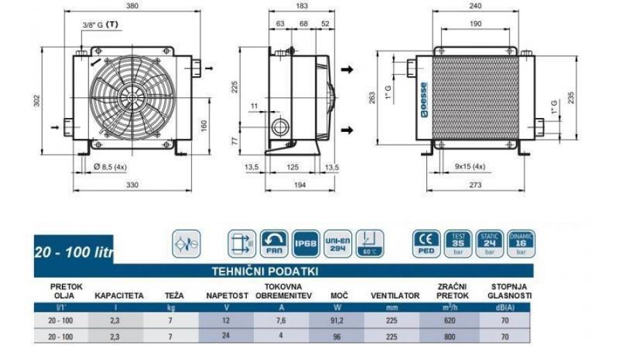 Olajhűtő 24V 20-100 L