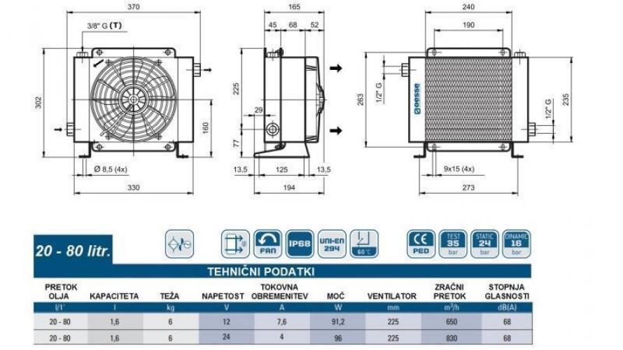 Olajhűtő 24V 20-80 L