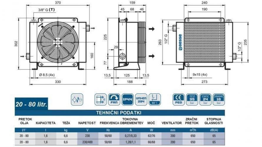 Olajhűtő 230V 20-80 L