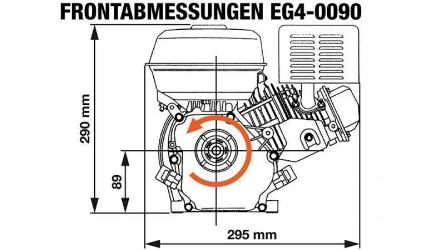 """Benzin EG4-90cc-1,79kW-2,43HP-3.600 U/min-H-KW15,9(5/8"""")x61-kézi indítás"""