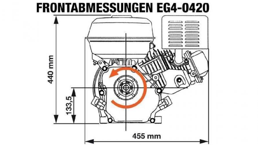 Benzin EG4-420cc-9,6kW-13,1HP-3.600 U/min-E-KW25.4x88.5-elektromos indítás