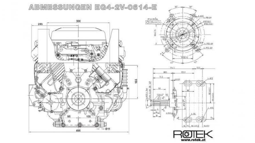 Benzin 614cc-14,9kW-3.600 U/min-E-KW25.4x72-elektromos indítás