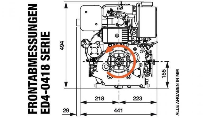 Dízel 418cc-7,83kW-10,65HP-3.600 U/min-E-KW25x88-elektromos indítás