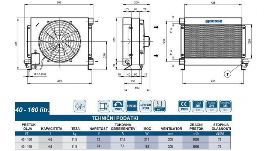 Olajhűtő 12V 40-160 L