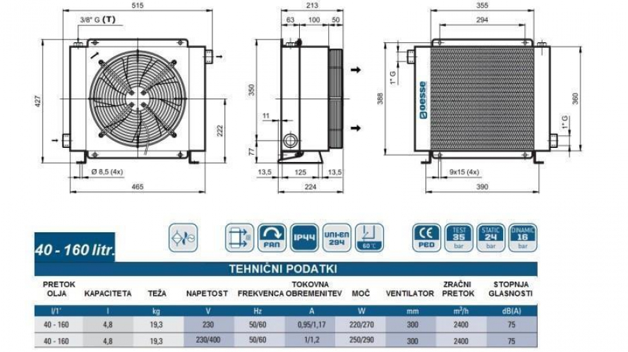 Olajhűtő 230V 40-160 L