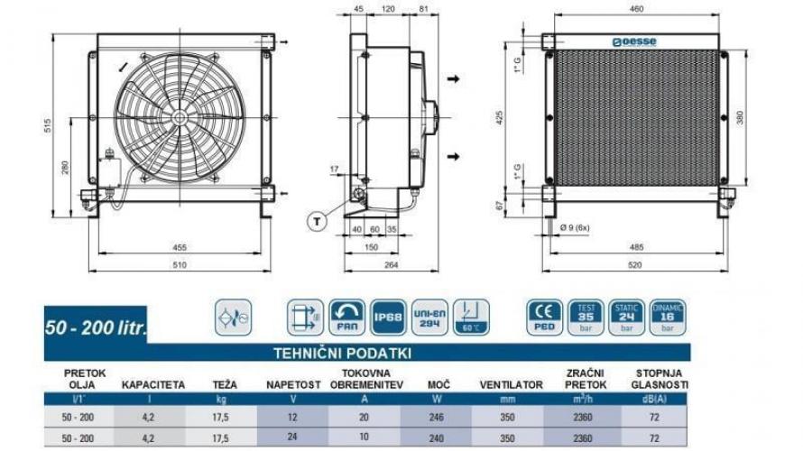 Olajhűtő 24V 50-200 L