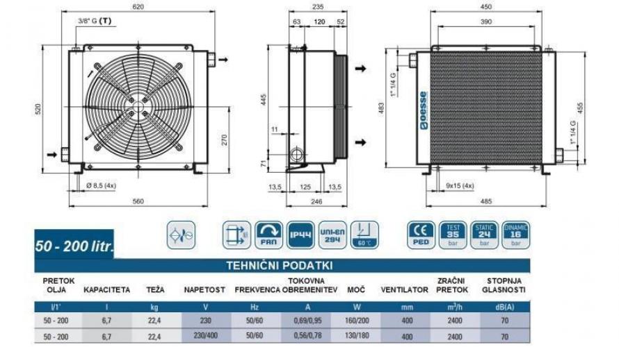 Olajhűtő 230V 50-200 L