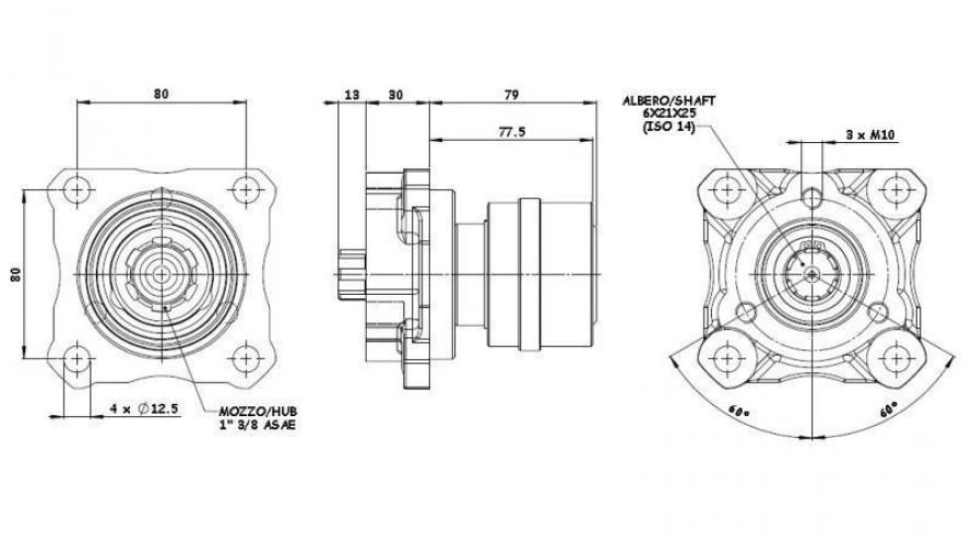 Standard uni (3 csavaros felfogás) belső bordával